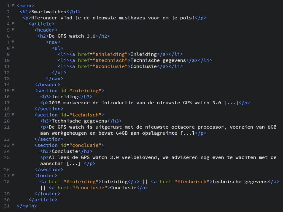 HTML5 voorbeeld afbeelding semantische elementen